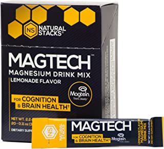 Natural Stacks: MagTech Magnesium Drink Mix (20 Pack) - Promote Brain Health - Improve Cognitive Aging - Help with Sleep Support - Lemonade Flavor