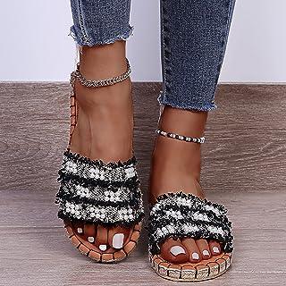 UULIKE Tongs pour Femme Chaussures de Ville Été Mode décontractée Perle Tisser Chaussures Plateforme Plates Sandales et Co...