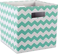 """DII Hard Sided Collapsible Fabric Storage Container for Nursery, Offices, & Home Organization, (13x13x13"""") - Chevron Aqua"""
