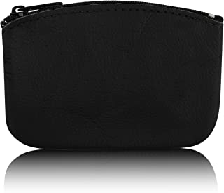 Classic Men's Large Coin Pouch Change Holder, Genuine Leather, Zippered Change Purse, Pouch