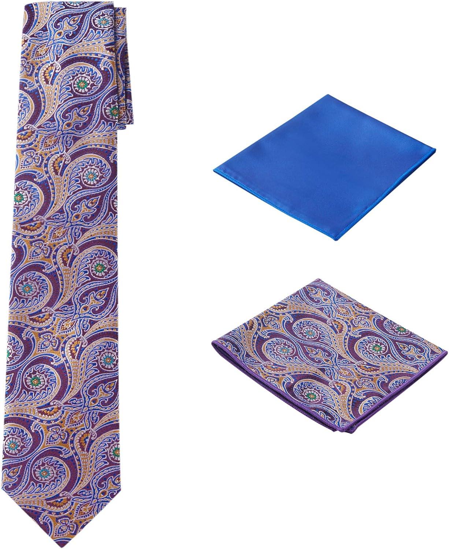 Men's Woven Paisley Regular Length Neck Tie with 2 Handkerchief Pocket Squares Hanky Set - Brown Dark Purple Blue