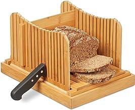 Relaxdays 10027486, trancheuse, planche a découper pain manuel bambou, ramasse-miettes, nature