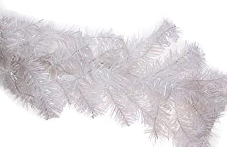 Clever Creations Christmas Tree Branch Style Garland Festive Holiday Décor | Realistic Frosted White Pine Garland | Wire with Artificial Needles | Bendable/Poseable | Indoor/Outdoor Use | 9' Long