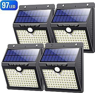 VOOE Luz Solar Exterior 97 LED [4 Pack / 3 Modos / 2200mAh] Foco Solar con Sensor de Movimiento Luces Solares para Exteriores Impermeable IP65 Lámpara Solar de Seguridad Inalámbricas para Jardín