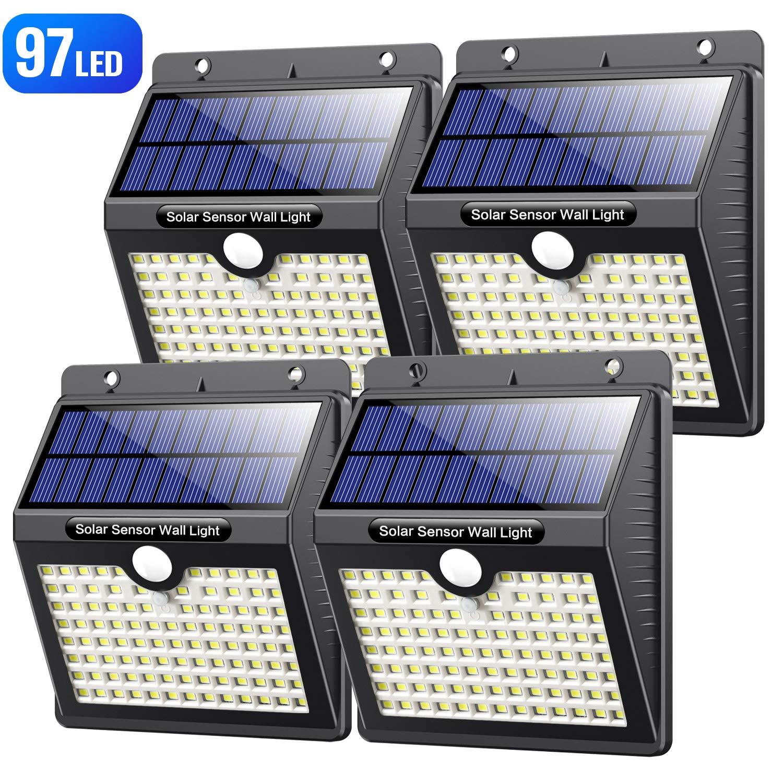 VOOE Luz Solar Exterior 97 LED [4 Pack / 3 Modos / 2200mAh] Foco Solar con Sensor de Movimiento Luces Solares para Exteriores Impermeable IP65 Lámpara Solar de Seguridad Inalámbricas para Jardín: Amazon.es: Iluminación