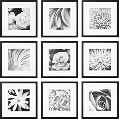 """Gallery Perfect Gallery Wall Kit Square Photos with Hanging Template Picture Frame Set, 12"""" x 12"""", Black, 9 Piece"""