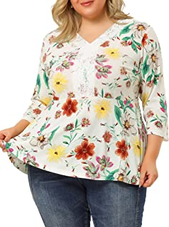 Agnes Orinda Plus Size Top for Women Knit V Neck Lace Insert Floral Printed Casual Peplum Work T Shirts