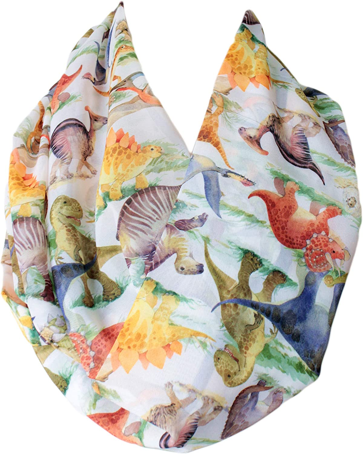 Etwoa's Watercolor Dinosaurs Pattern Infinity Circle Scarf