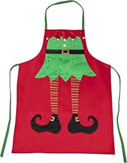 Juvale Christmas Elf Legs Apron - Holiday Santa Elf Kitchen Chef Apron, for Cooking and Baking, Festive Gag Gift, White Elephant Gift for Unisex Adults, Red, 30 x 23 Inches
