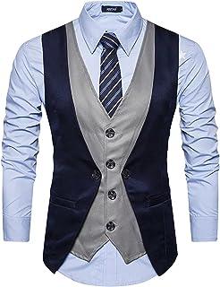 Creative Men's Cotton Slim Fit Waistcoat Blue grey_42