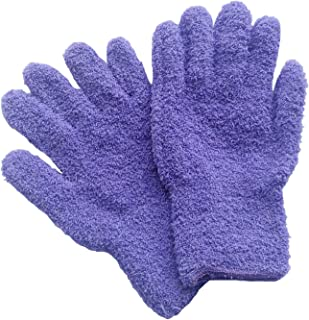 WHOISHE Household Microfiber Dusting Cleaning Gloves - Kitchen Cleaning Hand Glove for Cars,Trucks,Home,Windows,Mirrors and Lamps (One Pair,Purple)