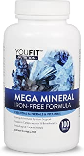 Mega Minerals Supplement by Youfit Nutrition | All 72 Trace Minerals | Premium Formula with Source of Minerals and Health support | Iron Free | All in One | 1000mg Calcium 500mg Magnesium & More