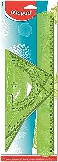 Maped - Kit Géométrie Geocustom - Règle 30 cm + Équerre Scolaire 60° + Équerre Scolaire 45° + Rapporteur 180° - Set de Tra...