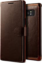 Galaxy Note 8 Case, Premium PU Leather ID Card Slot Holder Wallet Drop Protection Cover [Wireless Charging Compatible] for Samsung Note 8 (2017) by Lumion (Layered Dandy - Brown)