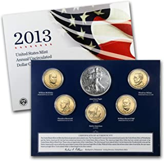 2013 W US Mint 6-Coin Annual Uncirculated Dollar Coin Set with 5 Satin Dollars and Burnished Silver Eagle $1 Brilliant Uncirculated (BU)