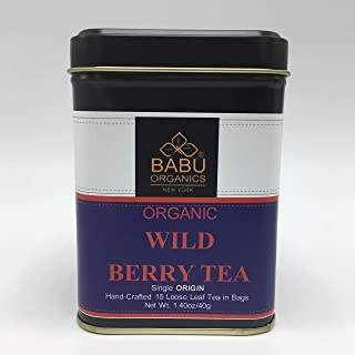 PREMIUM Organic WILD BERRY TEA by Babu Organics - MIXED BERRIES in Special 15 HAND-CRAFTED Tea Bags (15 Cups), SUN DRIED BLUEBERRIES, RASPBERRIES, STRAWBERRIES Refreshing tea with many health benefits