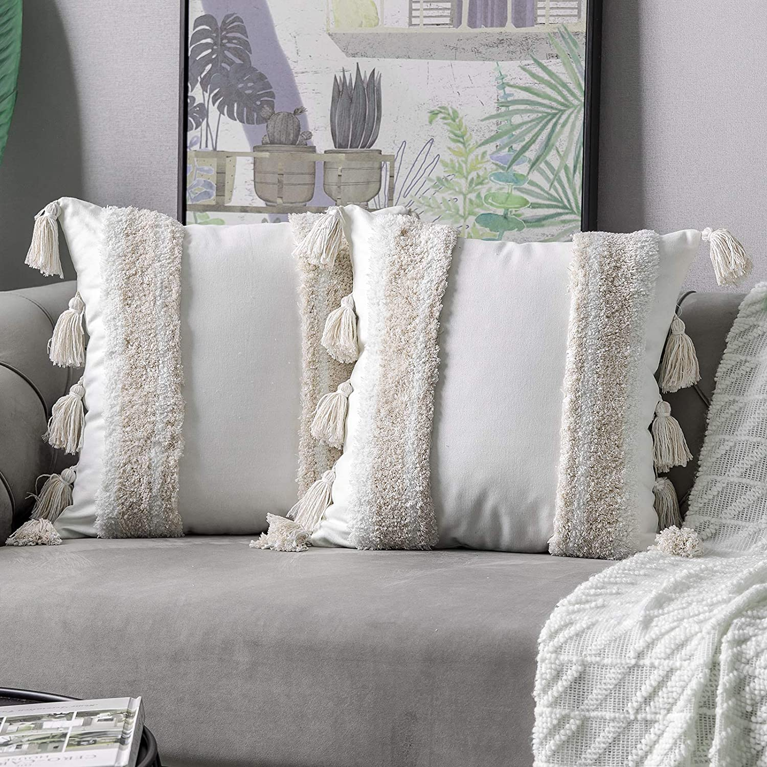 DEZENE Boho Free shipping anywhere in the nation Throw Pillow Covers: Set Cott 100% Tufted Woven of 2 Outlet SALE