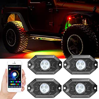Wayup 4 Pods RGB LED Rock Light Kits with Bluetooth Control Waterproof Multicolor Underglow LED Neon Trail Rig Lights for Truck Off Road Jeep SUV ATV Boat Motorcycle