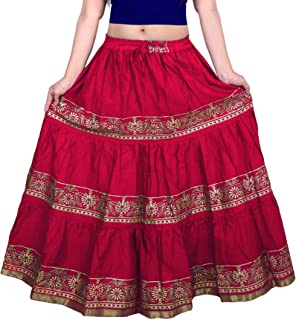 490e78152f VOXVIDHAM Skirt Women's Cotton Fancy Flower Border Design Block Print  (Goldish) Skirts with Elastic