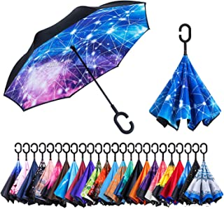 NewSight Reversible Umbrella – Dual Layer Inverted Umbrella, Self-Stand & C-Shape Hook to Free Hands, Reverse Inside Out Folding for Car Driver & Passenger, with Carrying Sleeve & PVC Zip Bag