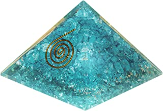 Orgone Pyramid – Emf Protection Anxiety Relief Aquamarine Orgone Energy Generator Chakra Healing Natural Stone Handmade Orgonite Pyramid for – Sleep Aid Meditation Reiki Yoga Kit