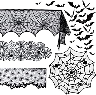 5 Pack Halloween Spider Decorations Sets -Halloween Fireplace Mantel Scarf & Round Table Cover & Lace Table Runner & Cobwe...