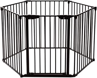 Safety Gate Fireplace Fence Hearth Guard for Baby Pet Dog Cat BBQ Metal Fire Gate Protection Fireguard 6 Sides(Black) …