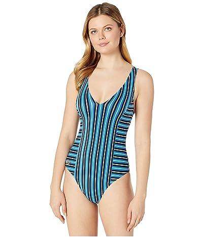 MICHAEL Michael Kors Marine Stripe V-Neck One-Piece (Vintage Blue) Women