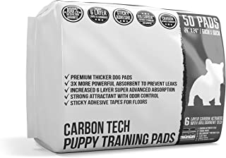 Bulldoglogy Premium Carbon Black Puppy Pee Pads with Adhesive Sticky Tape - Large Housebreaking Dog Training Wee Pads (24x24) 6 Layers with Extra Quick Dry Bullsorbent Polymer Technology