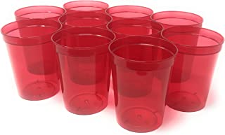 CSBD 10 Pack Blank 16 oz Plastic Stadium Cups Bulk - Reusable or Disposable, Made In USA, Great For Customization, Monograms, Marketing, DIY Projects, Weddings, Parties, Events (10, Translucent Red)
