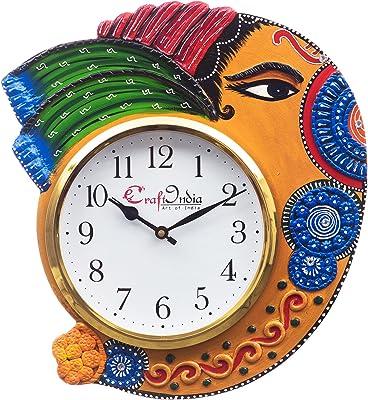 eCraftIndia Handicraft Lord Ganesha Analog Wall Clock(Orange & Blue, with Glass)