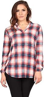 Lildy Women's Flannel Plaid Roll Tab Sleeve Tunic