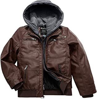 Wantdo Boy`s Faux Leather Jacket Waterproof Zipper Coat with Removable Hood