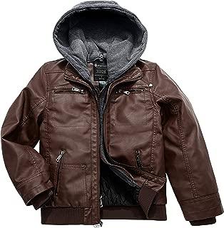 Boy's Faux Leather Jacket Waterproof Zipper Coat with Removable Hood
