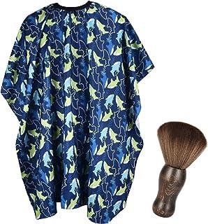 FaHaner Kids Haircut Cape + Neck Duster Brush Set Professional Barber Hairbrush and Children Dolphin Hairdresser Apron wit...