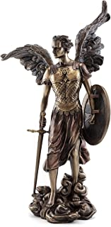 Top Collection St. Michael The Archangel Statue - Michael, Defender of The Church Sculpture in Premium Cold-Cast Bronze - 14-Inch Collectible Angel Figurine