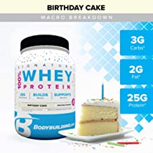 Bodybuilding Signature 100% Whey Protein Powder | 25g of Protein per Serving | Birthday Cake, 2 Lbs