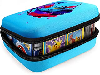 Cards Holder Compatible for PM TCG Card Game, Fits Up Fits up to 400 Cards. Case with 2 Removable Divider(Blue)