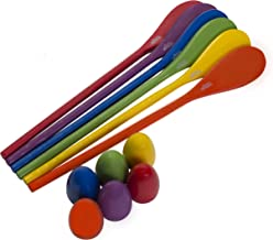 Egg and Spoon Race Game - 6 Eggs and 6 Spoons - Made of the Finest Wood - Fun Game for Parties, Birthdays etc. - Durable, ...