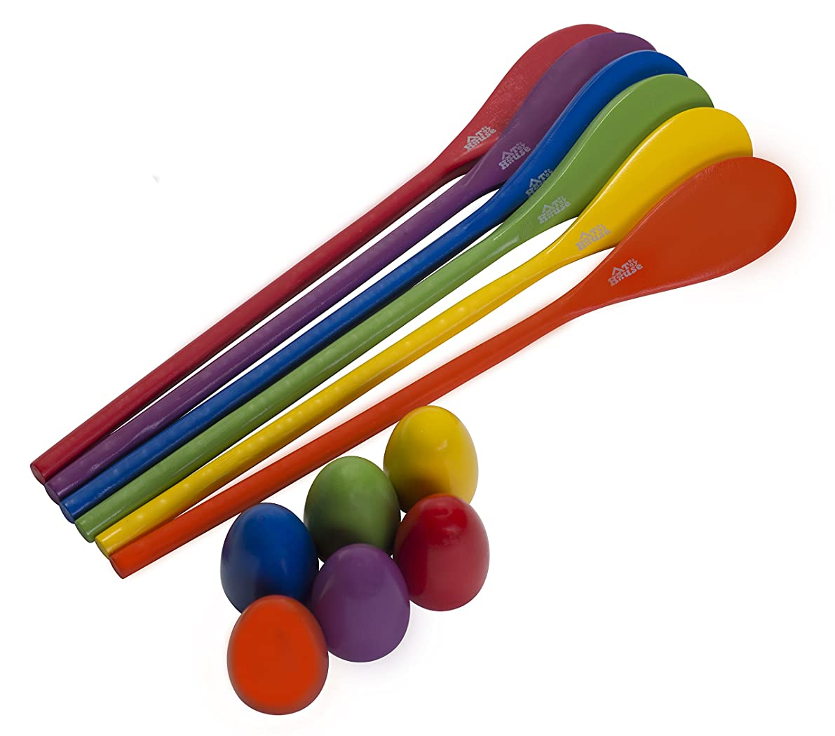 Egg and Spoon Race Game - 6 Eggs and 6 Spoons - Made of the Finest Wood - Fun Game for Parties, Birthdays etc. - Durable, Lightweight | Six Assorted Colors