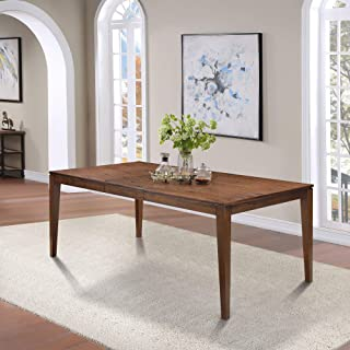 """LALUZ Solid Wood Expandable Dining Table, Rectangle Wooden Kitchen Table with Extendable Leaf for Kitchen Dining Room, 77.5""""(Max) L x 39.5"""" W x 30"""" H"""