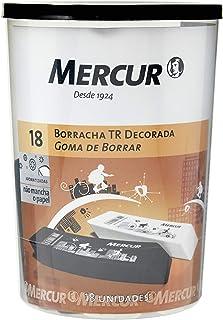 Borracha Decorada Triangular, Mercur B01010601051, Preto/Branco, Pacote de 18