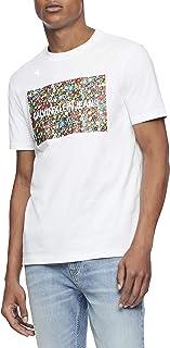 Calvin Klein 男式短袖交织字母标志 T 恤