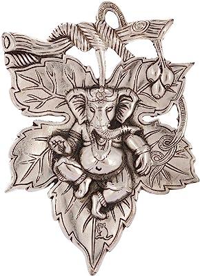 eCraftIndia Lord Ganesha on Creative Leaf Metal Wall Hanging (20 cm x 1 cm x 29 cm, Silver)