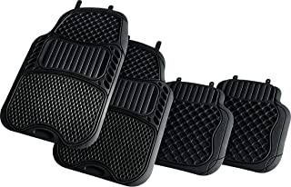 Suzec 130280 Car Foot/Floor Rubber Universal Mat with Minute Pockets (Set of 5, Black)