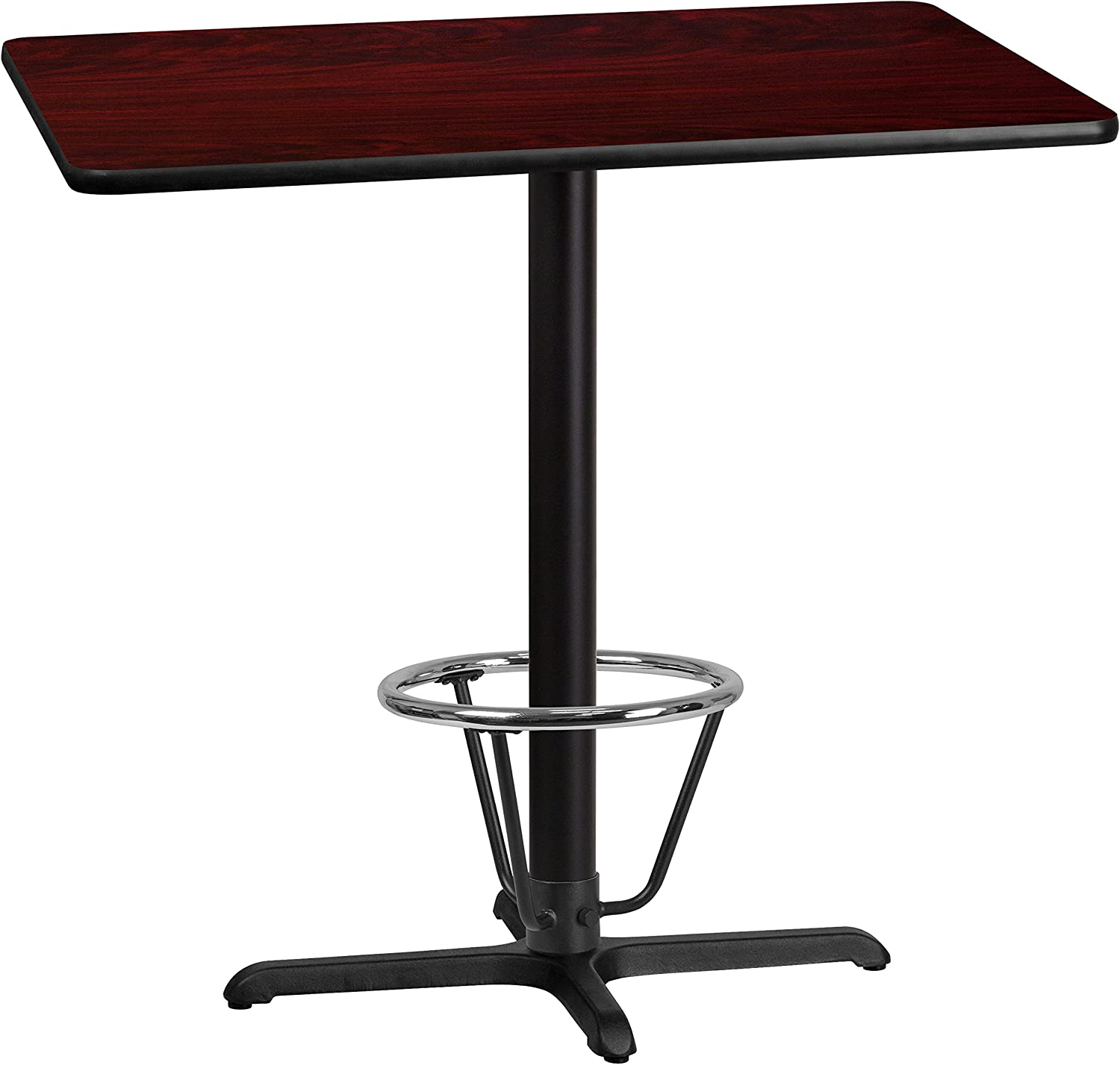 Flash Furniture 30'' x 42'' Rectangular Mahogany Laminate Table Top with 22'' x 30'' Bar Height Table Base and Foot Ring