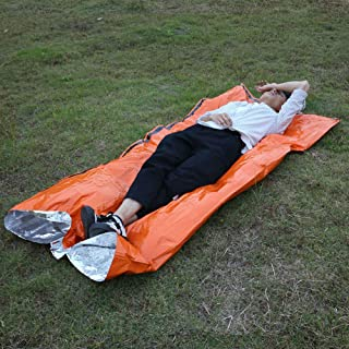 Outdoor Emergency Hi-Vis Survival Sleeping Bags Portable PE Thickening Lightweight Camping Travel Walking (1Pc)