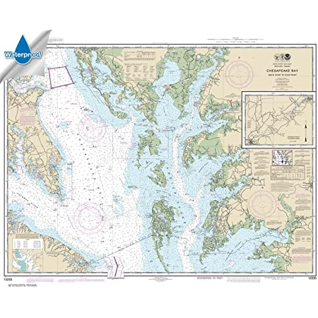 40.1 X 35.3 TRADITIONAL PAPER Chesapeake Bay Cove Point to Sandy Point Paradise Cay Publications NOAA Chart 12263