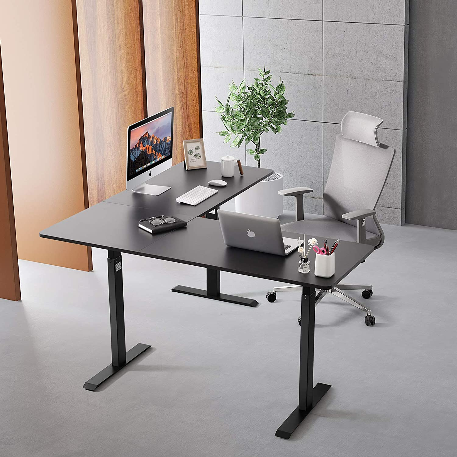 UNICOO L-Shaped Standing Workstation Sit to Stand up Corner Desk L ...