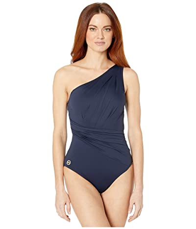 MICHAEL Michael Kors Solids One Shoulder Shirred One-Piece (New Navy) Women